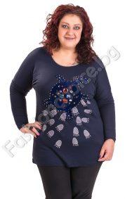 Практична макси блуза с цветни камъни в тъмносин цвят