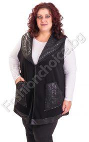 Изящен дамски макси елек с джобчета и релефна материя