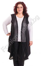 Дълъг дамски елек с дантела в черен цвят /макси размер/