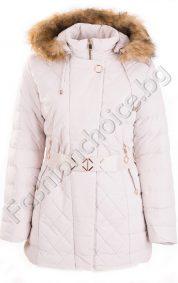 Зимно дамско яке с коланче и качулка /големи размери/