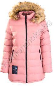 Дебело зимно дамско яке с качулка и с апликация звезда