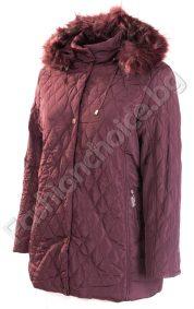 Топло зимно яке в големи размери с пухена качулка
