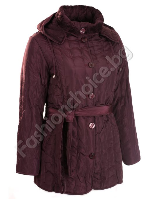 Топло шушляково яке в големи размери с коланче и качулка