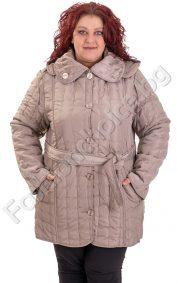 Разкошно зимно шушляково яке в големи размери с коланче и качулка