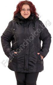 Практично зимно макси яке с голяма топла яка и качулка
