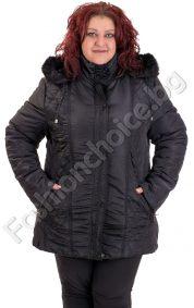 Зимно плътно макси яке на ромбчета със скрито закопчаване