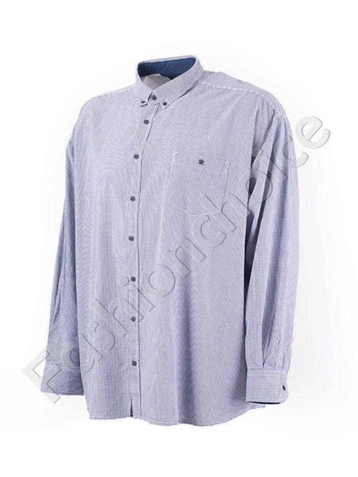 Мъжка макси риза на ситно каре в синьо-код 834-9