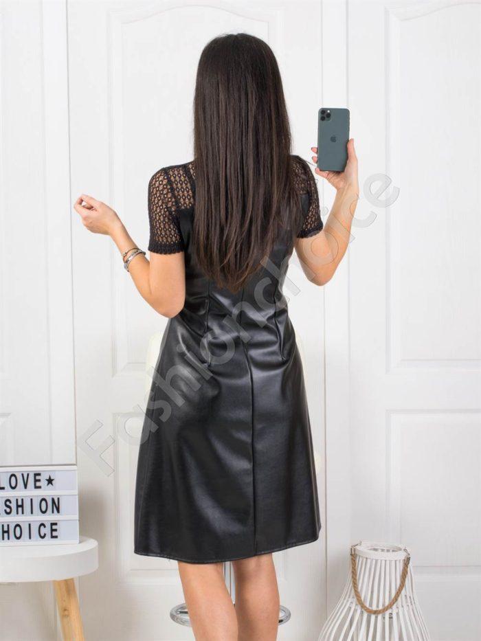 Модерна кожена дамска рокля с къс ръкав Код 167-06192