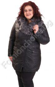 Дълго плътно кожено макси яке с еко косъм в големи размери