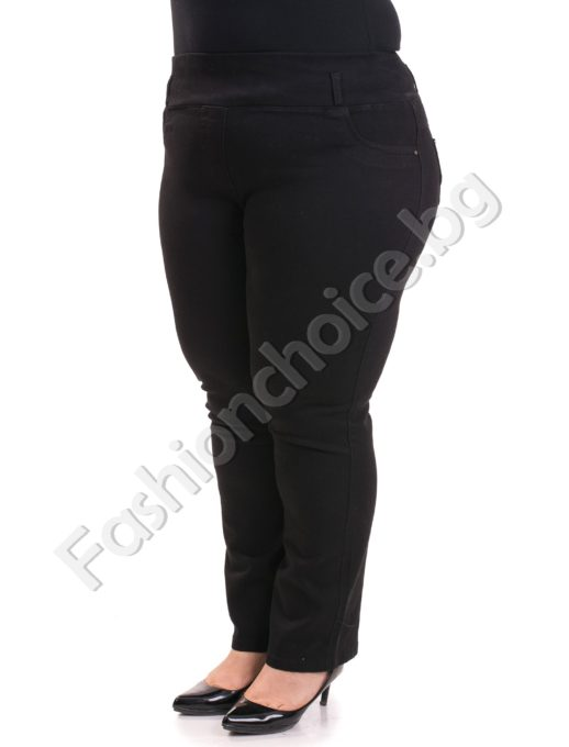 Черни макси дънки тип клин в големи размери, плътен модел