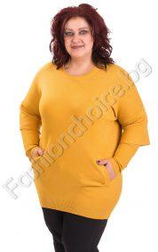 Топла дамска туника с два джоба в есенни цветове