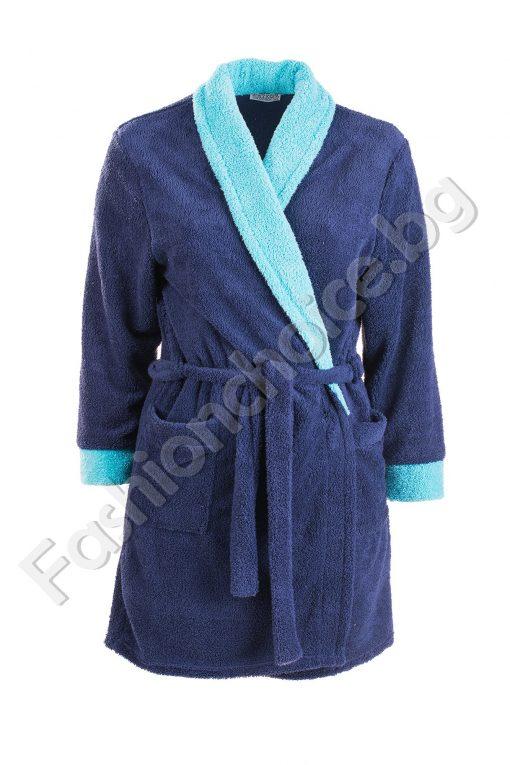 Мек халат с два джоба и коланче макси размер