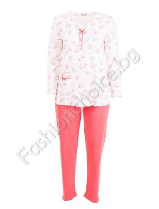 Плътна макси пижама с цяло закопчаване в 3 десена