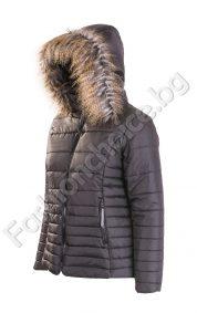 Плътно шушляково дамско яке с еко косъм /XXL, 3XL/