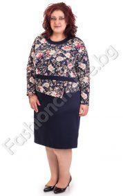 Кокетна рокля с ефектна горна част на цветя /големи размери/