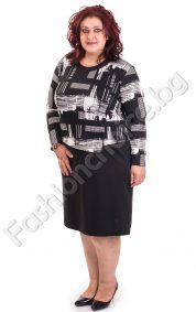 Модерна макси рокля в класически черно-бял десен