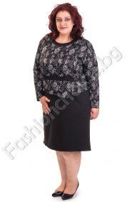 Стилна дамска макси рокля имитираща две части