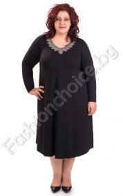 Дамска рокля с изискано колие/големи размери/