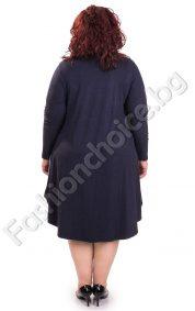 Дамска разкроена рокля със свеж принт/макси размери/