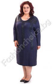 Дамска рокля с декорация от камъчета и перлички/макси размери/