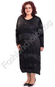 Дълга черна рокля с дантелени мотиви и плюш/макси размери/