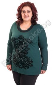 Прекрасна макси блуза с апликация от камъчета и дантела