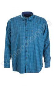 Официална карирана мъжка риза в големи размери и джобче