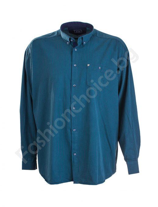 Модерна мъжка риза в два карирани десена /големи размери/