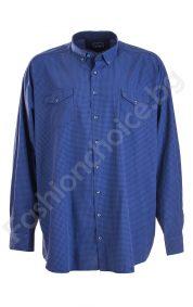 Карирана синя мъжка риза в големи размери с джобче