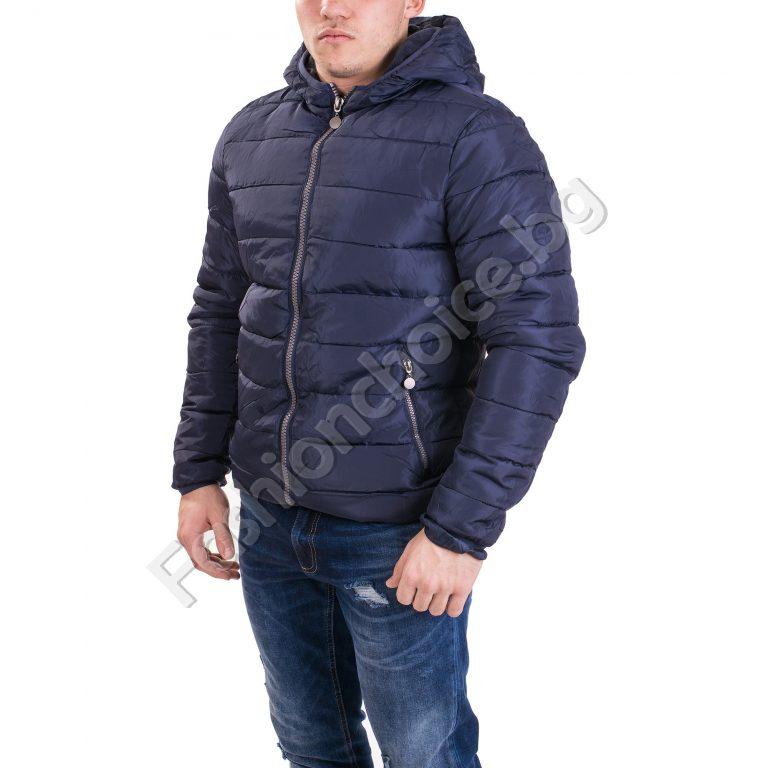 Топло шушляково мъжко яке с качулка в два цвятаТопло шушляково мъжко яке с качулка в два цвята