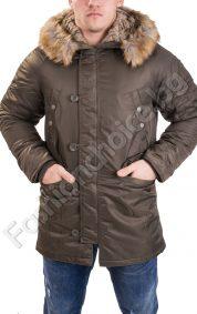 Плътна мъжка зимна шуба с пухена качулка в два десена