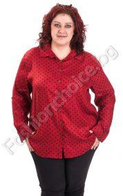 Дамска риза макси размер на точки в бордо