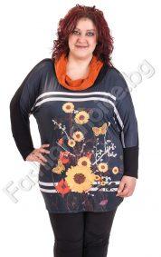 Пъстра макси блуза с плетена поло яка на цветя и 3D ефект пеперуди