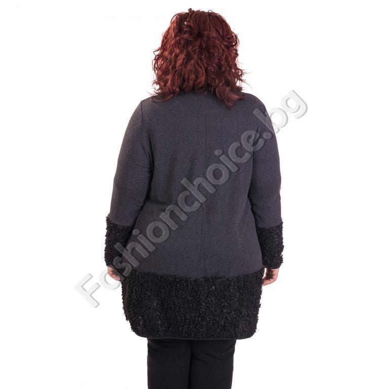 Екстравагантна плътна макси туника с маншет от букле и джобче
