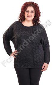 Интересна дамска блуза с прилеп ръкав в три цвята/макси размери/