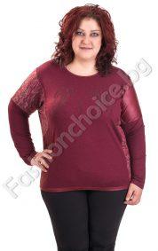 Мека дамска макси блуза с оригинална кройка и блестящи камъчета