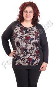 Макси блуза с декорация рози и прилеп ръкав