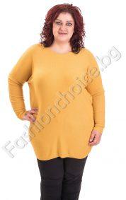 Топъл дамски пуловер с асиметрична кройка/големи размери/