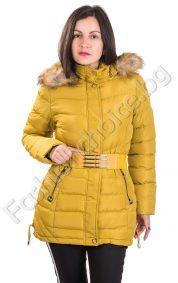 Зимно дамско яке с мека пухкава качулка в три цвята