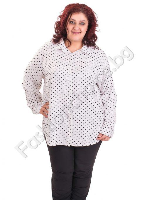 Дамска риза макси размер на точки в четири десена
