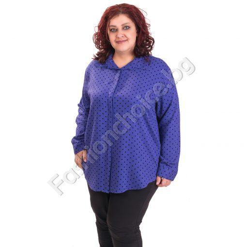 Красива риза на точки в четири десена/макси размери/