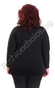 Модерна макси блуза с кожени елементи и нежни камъчета