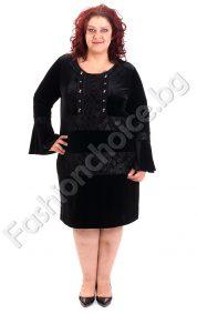 Дамска официална макси рокля от плюш и камбана ръкав