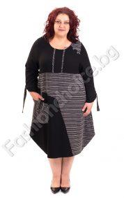 Оригинална дамска рокля с интересна кройка/големи размери/