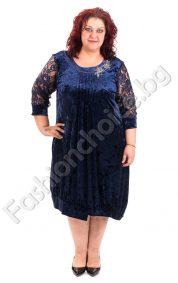 Официална дамска макси рокля от плюш и дантела