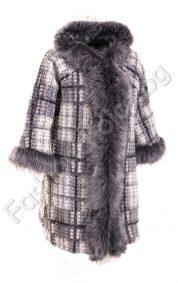 Дизайнерско вълнено палтенце със сребърен еко косъм (големи размери)
