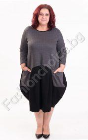 Авангардна дамска рокля в пепит с два джоба/големи размери/
