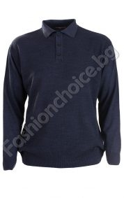 Мъжки фин пуловер с копчета и яка в големи размери