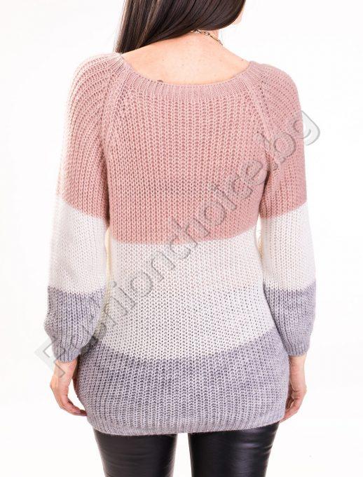 Трицветен дамски пуловер с V-образно деколте и вързанки