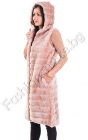 Екстравагантен дълъг дамски елек от еко косъм с качулка